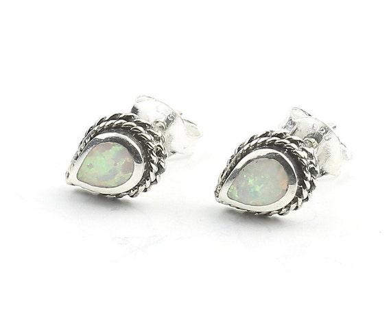 Opal Sterling Silver Earrings, Opal Stud Earrings, Small Earrings, Boho, Lab Opal Earrings, Gypsy, Ethnic Earrings