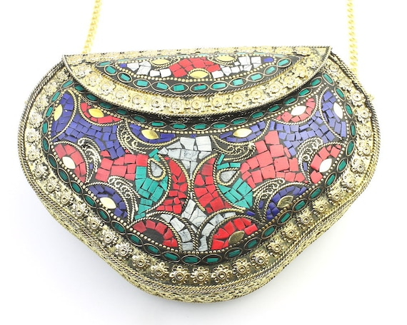 Jericho Clutch, Vintage Stone Purse, Ornate brass bag, Metal Purse, Antique Bag, Gold Purse, Boho, Gypsy, Cigarette Case