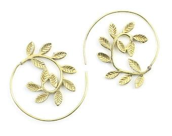 Spiral Leaves Earrings, Brass Spiral Earrings, Swirl Earrings, Tribal Earrings, Festival Jewelry, Gypsy Earrings, Ethnic, Yoga