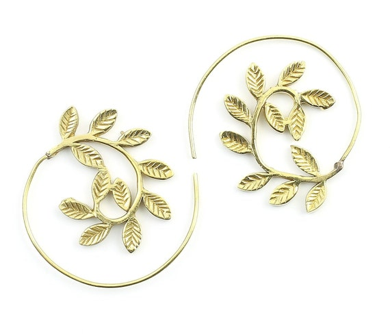 Spiral Leaves Earrings, Brass Spiral Earrings, Swirl Earrings, Tribal Earrings, Festival Jewelry, Gypsy Earrings, Ethnic, Yoga