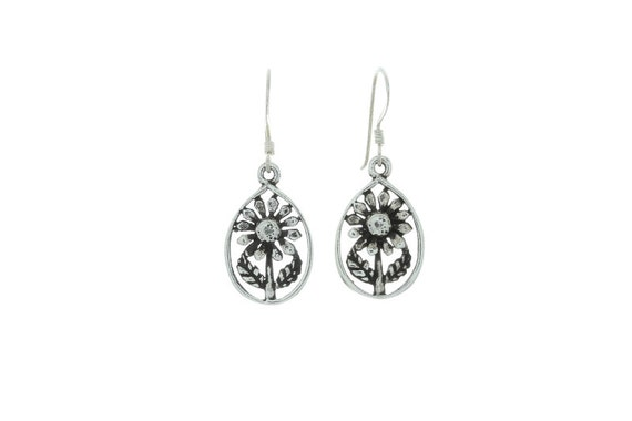 Sterling Silver Flower Earrings, Sunflower Earrings, Silver Earrings