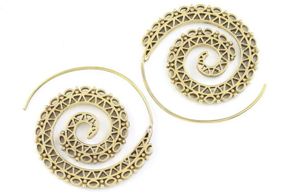 Tribal Brass Earrings, Spiral Brass Earrings, Festival Earrings, Gypsy Earrings, Ethnic Earrings, Golden Spiral Earrings