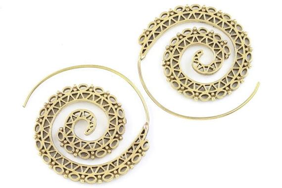 Tribal Brass Earrings, Spiral Brass Earrings, Festival Earrings, Gypsy Earrings, Ethnic Earrings, Golden Spiral Earrings