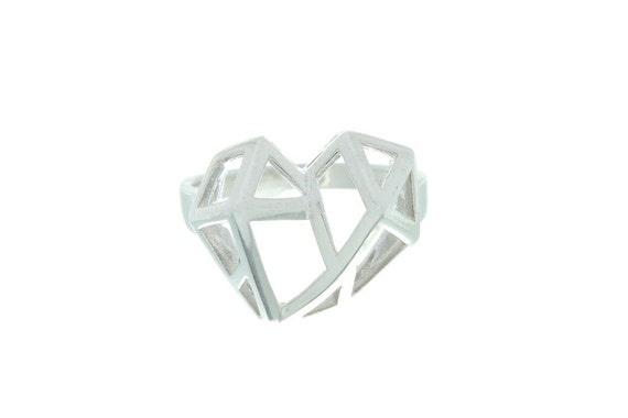 Geometric Heart Ring, Sterling Silver Heart Ring, Geometric Ring, Boho Ring,