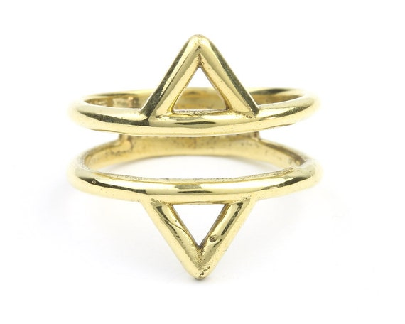 Brass Temple Ring, Double Triangle Ring, Minimal Ring, Modern Ring, Festival Jewelry, Gypsy Jewelry, Boho, Hippie