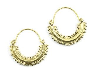 Khas Earrings, Ornate Ethnic Hoop Earrings, Tribal Brass Earrings, Festival Earrings, Gypsy Earrings, Hoop Earrings