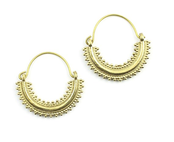Khas Earrings, Ornate Ethnic Hoop Earrings, Tribal Brass Earrings, Festival Earrings, Gypsy Earrings, Hoop Earrings