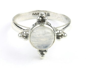 Midnight Compass Ring, Sterling Silver Moonstone Ring, Stone Jewelry, Cosmic, Gemstone, Boho, Gypsy, Wiccan, Hippie, Spiritual