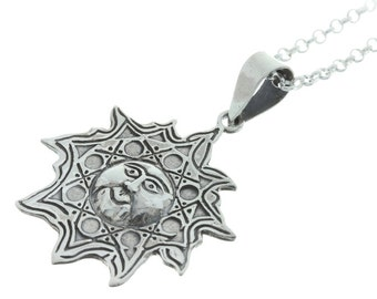 Sterling Silver Sun necklace, Sun necklace, Sterling Silver necklace