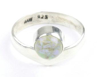 Gold Dust Ring, Sterling Silver Opal Ring, Stone Jewelry, Cosmic, Gemstone, Boho, Gypsy, Wiccan, Hippie, Spiritual, Modern