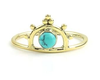 Rajkot Ring, Brass Turquoise Ring, Yoga Jewelry, Tribal, Ethnic Ring, Gypsy, Hippie Jewelry, Festival Jewelry, Boho