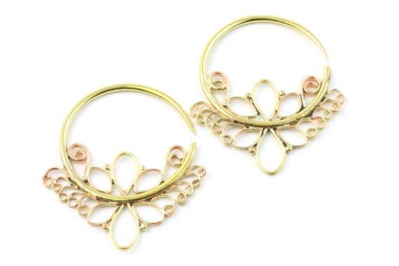 Athena Earrings, Gauged Earrings, 10 Gauge, Stretched Ears, Plugs, Gauges, Festival, Gypsy, Ethnic Earrings, Brass Bohemian Earrings