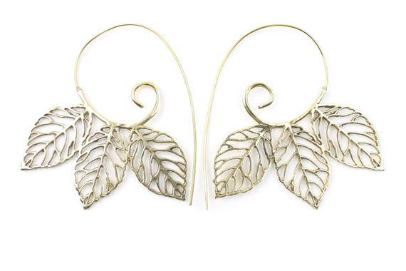 Spiral Leaf Earrings, Large Spiral Earrings, Leaves, Nature, Tribal Brass Earrings, Festival Jewelry, Gypsy Earrings, Ethnic, Yoga Earrings