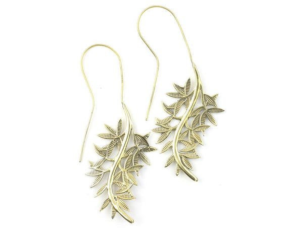 Willow Branch Earrings, Large Vine Earrings, Leaf Earrings, Tribal Brass Earrings, Festival Jewelry, Gypsy Earrings, Ethnic, Yoga Earrings