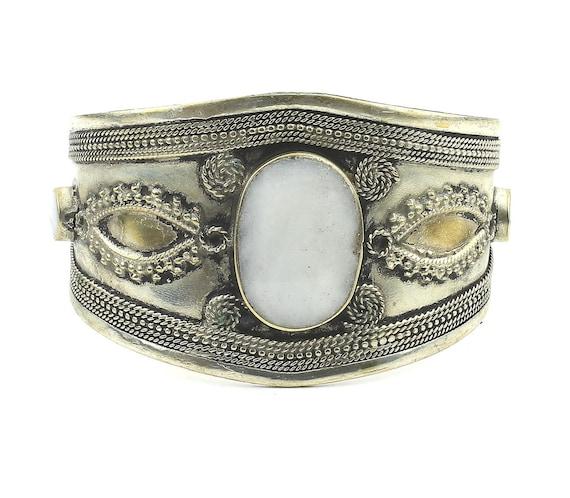 Afghani Cuff Bracelet, Afghani Arm Band, Vintage Bracelet, Middle Eastern, Festival, Tribal, Ethnic, BOHO, Gypsy, Gemstone Jewelry