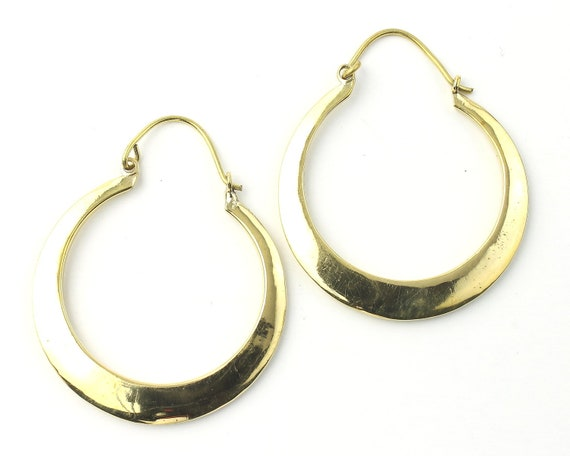 Hoop Earrings, Brass Earrings, Simple Hoop, Modern, Festival Jewelry, Gypsy Earrings, Ethnic, Yoga