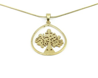 Brass tree necklace, brass tree of life pendant, tree jewelry