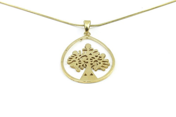 Brass tree necklace, brass tree of life pendant, tree jewelry