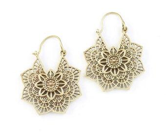 Mandala Brass Earrings , Tribal Brass Earrings,  Festival Earrings, Gypsy Earrings, Ethnic Earrings