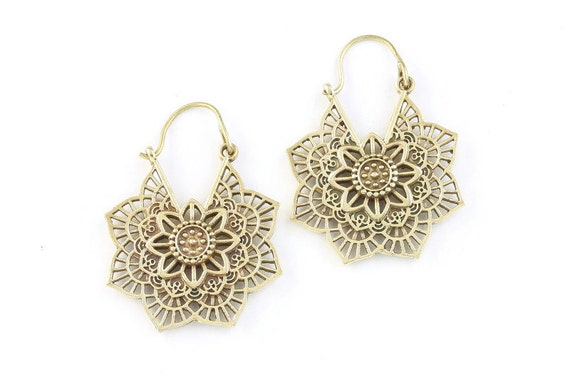 Mandala Brass Earrings , Tribal Brass Earrings,  Festival Earrings, Gypsy Earrings, Ethnic Earrings