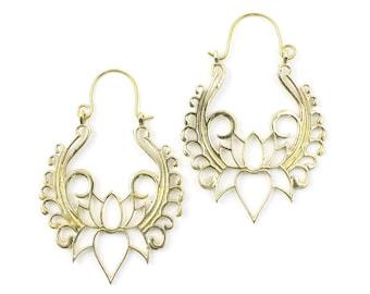 Open Lotus Earrings, Swirling Lotus, Tribal Brass Earrings, Festival Jewelry, Gypsy Earrings, Ethnic, Yoga Earrings
