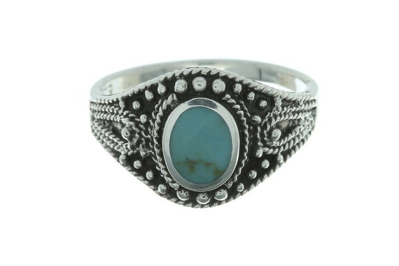 Turquoise Tribe Ring, Sterling Silver Turquoise Ring, 925, Boho, Gypsy, Festival Jewelry, Gemstone, Southwestern Design, Vintage