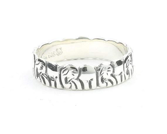 Sterling Silver Elephant Ring, Elephants Herd  Ring, Ethnic Ring, Elephant Jewelry