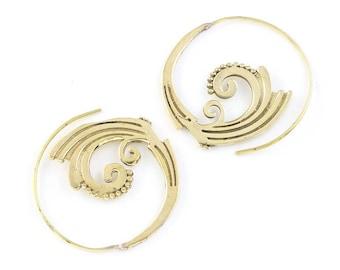 Tribal Brass Earrings, Spiral Brass Earrings, Festival Earrings, Gypsy Earrings, Ethnic Earrings, Brass Wave Earrings