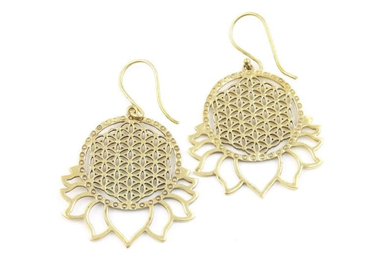 Flower of Life Brass Earrings, Lotus Flower Earrings, Sacred Geometry, Tribal Brass Earrings, Festival Jewelry, Gypsy Earrings