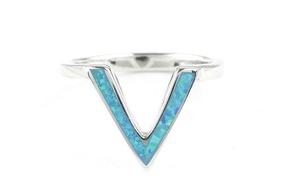 Opal Angel Ring, Sterling Silver Minimalist Ring, 925, Lab Opal, Blue Opal, Boho Ring, Gypsy, Festival Jewelry, Gemstone Rings