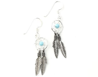 Sterling Silver Dreamcatcher Earrings, Feather Earrings, Southwestern, Boho, Bohemian, Gypsy, Festival Jewelry