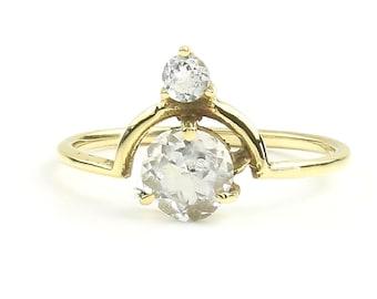 Aligarh Ring, Quartz Brass Ring , Crystal Quartz, Stone Jewelry, Cosmic, Gemstone, Boho, Gypsy, Wiccan, Hippie, Spiritual, Minimalist