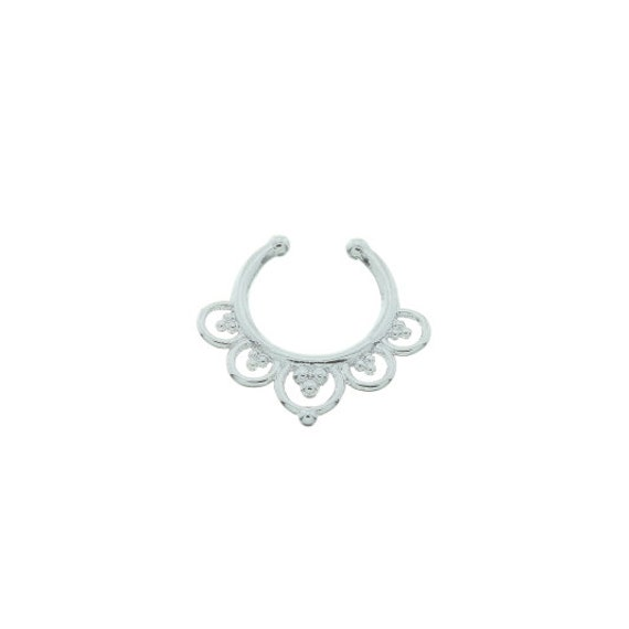 Faux septum ring, Fake septum ring, Faux nose ring, non pierced septum, Wild Lotus Faux Septum Ring