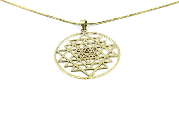 Sri Yantra brass necklace, Sacred Geometry necklace, Geometric power necklace