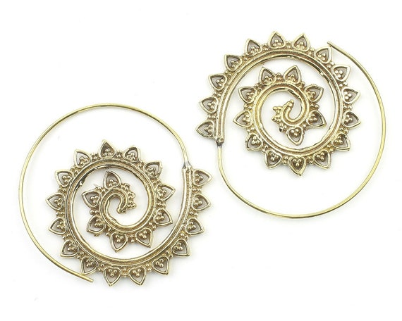 Sohag Earrings, Spiral Brass Earrings, Swirl Earrings, Tribal Earrings, Festival Jewelry, Gypsy Earrings, Ethnic, Yoga
