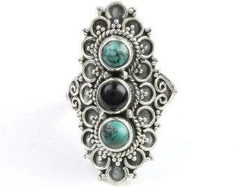 Smokey Drifter Ring, Sterling Silver Turquoise Ring, Black Onyx, Stone Jewelry, Western, Gemstone, Boho, Gypsy, Hippie, Vintage Spiritual