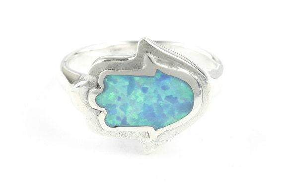 Opal Hamsa Ring, Sterling Silver Hand Ring, 925, Lab Opal, Blue Opal, Hand of Fatima, Boho Ring, Gypsy, Festival Jewelry, Gemstone Rings