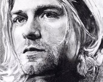Kurt Cobain - Charcoal Portrait - Limited Edition Mounted Print run of 100 from original artwork