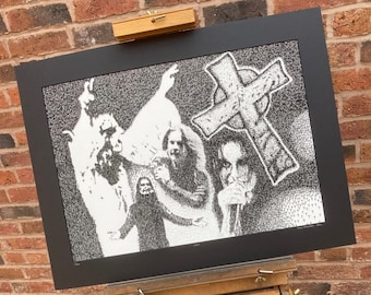 Ozzy Osbourne - Ink Stamp (Gothic Cross) Portrait - Limited edition mounted print run of 100 from original artwork