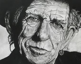 Keith Richards - The Rolling Stones - Charcoal Portrait - Limited Edition Mounted Print run of 50 from original artwork