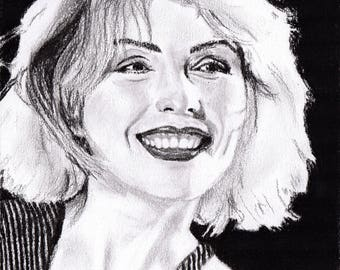 Debbie Harry - Blondie - Charcoal Portrait - Limited Edition Mounted Print run of 100 from original artwork