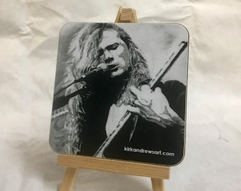 Dave Mustaine Coaster - Printed from Original Charcoal Portrait - Free UK Delivery