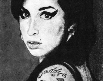 Amy Winehouse - Charcoal Portrait - Limited Edition Mounted Print run of 100 from original artwork