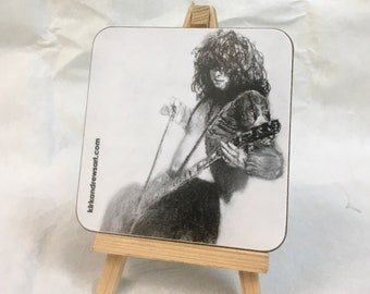 Jimmy Page Coaster - Printed from Original Charcoal Portrait - Free UK Delivery