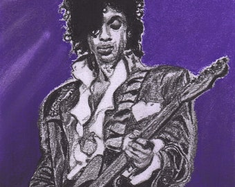 Prince - Charcoal Portrait - Limited Edition Mounted Print run of 100 from original artwork