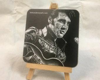 Elvis Presley Coaster - Printed from Original Charcoal Portrait - Free UK Delivery