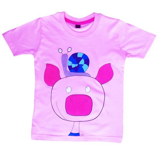 Maialino e lumaca t shirt per bambini etsy for Maialino disegno per bambini