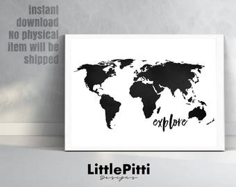 World Map Print World Map Poster Black And White Large Etsy - World map silhouette poster