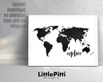 Explore World Map Print, Travel Print, World Map Poster, Black White, World  Map Wall Art, Explore The World, Explore Wall Art, 18x24, 11x14