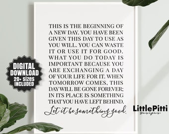 This Is The Beginning Of A New Day Sign Workspace Quote Etsy
